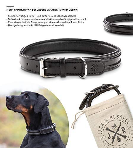 Jack & Russell Premium Leder Hunde Halsband Bruno - Original Leder Hundehalsband Bruno (S, Schwarz)