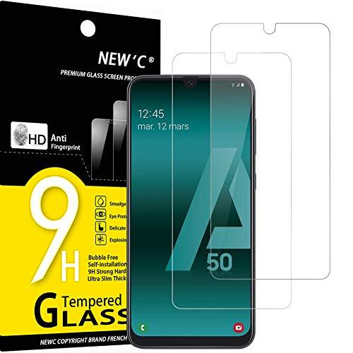 NEW'C 2 Unidades, Protector de Pantalla para Samsung Galaxy A50 (SM-A505F), Antiarañazos, Antihuellas, Sin Burbujas, Dureza 9H, 0.33 mm Ultra Transparente, Vidrio Templado Ultra Resistente