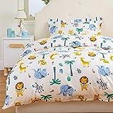 Bedsure Bettwäsche Kinder 100x135 Kinderbettwäsche jungen 100 x 135 cm, Bettwäsche Tier Muster...