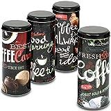 com-four® 4X Kaffeepaddose - Dekorative Vorratsdosen mit verschiedenen Dekoren [Auswahl variiert!] - Aufbewahrungsbehälter für Kaffeepads (4 Stück - schwarz Mix1)