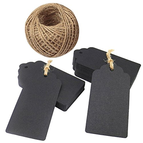 100pcs Black Gift Tags Labels,Kraft Paper Tags 10x5cm Craft Hang Tags with 30M Jute Twine for Crafts Wedding Favours