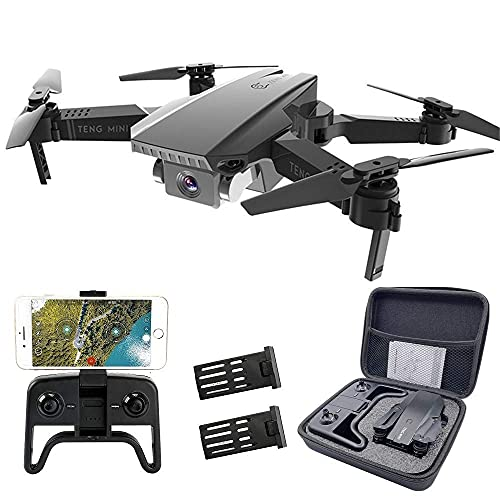 Teeggi M71 Drones with Dual Camera for Adults and Kids Foldable Drone 1080P FPV Quadcopter with Optical Flow Positioning, One Key Start/Landing, Headless Mode, Altitude Hold, 2 Batteries+Carry Case