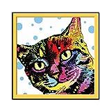 N / A Lindo Gato Cabeza Pintura al óleo Mascota Gato Cartel Familia Sala de Estar decoración Gatito Gatito Lienzo Arte Mural sin Marco 50x50 cm