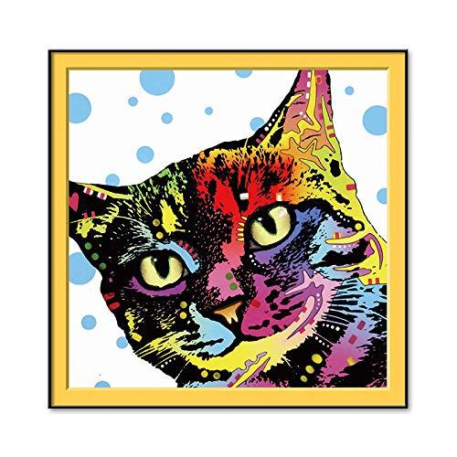 N / A Simpatico Gatto Testa Pittura a Olio Animale Domestico Gatto Poster Famiglia Soggiorno Decorazione Gattino Gattino Tela Arte murale Senza Cornice 70x70 cm
