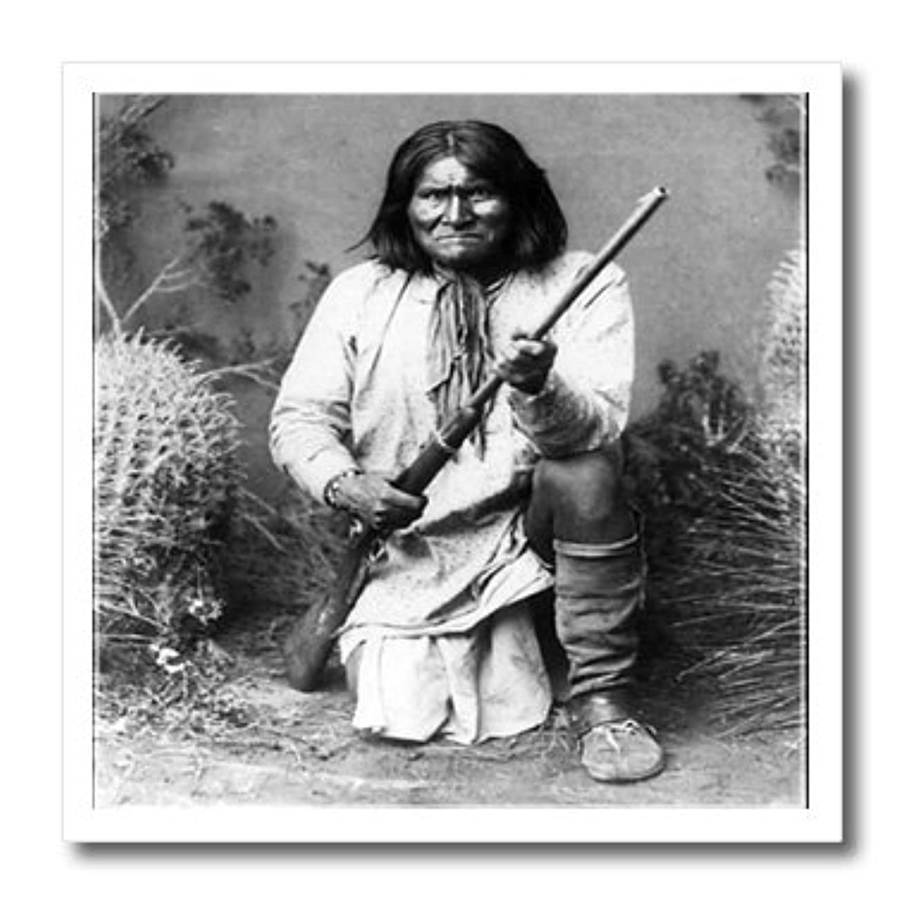 3dRose ht_98646_3 Vintage Photo of Geronimo in Black N White.Jpg-Iron on Heat Transfer for White Material, 10 by 10-Inch
