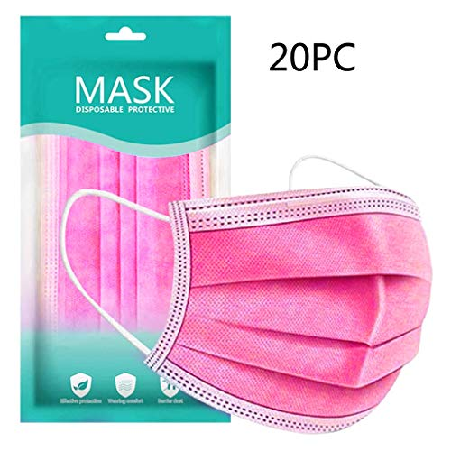 50 Pcs Disposable Face Macks, 3 Layer Best Breathable Face ṁɑѕḱ Lightweight for Adult, Men, Women, Indoor, Outdoor Use (20, Pink)