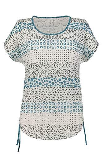 GINA LAURA Damen T-Shirt, Mustermix, Oversized, Saumbänder pagodenblau L 725262 89-L