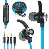 ENHANCE Mobile Gaming Earbuds for PS4, PC, Xbox One & Nintendo Switch with Bass Vibration Feedback & Microphone - Full Metal Housings, Noise Isolating, in Ear Hooks & Tangle Free Cable