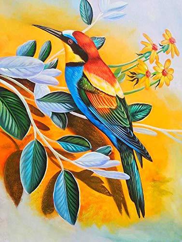 Reofrey 5D Diamond Painting Pintura al óleo flor pájaro, Pintura Diamante Bricolaje Completo Taladro Arte, Punto de Cruz Diamantes Bordado Pegatinas de Pared Decoración de La sala (30x40cm)