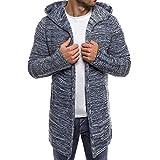 iYYVV Mens Fashion Solid Knit Cardigan Sweater Sweatshirts Casual Slim Jacket Coat