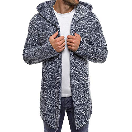 Sumen Men Autumn Winter Hooded Trench Coat Knitted Open Front Sweater Cardigan Gray