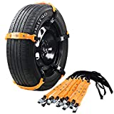 """VeMee Snow Chains for Car Snow Tire Chains Car Safety Chains Emergency Traction Adjustable Chains Universal Anti Slip TIRE Snow MUD Chains 10pcs Car,SUV, Truck Width 7.3""""-11.7""""(185mm-295mm) (Yellow1)"""