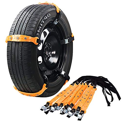 VeMee Snow Chains for Car Snow Tire Chains Car Safety Chains Emergency Traction Adjustable Chains Universal Anti Slip TIRE Snow MUD Chains 10pcs...