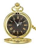 Reloj de Bolsillo de Cuarzo Antiguo Liso con Cadena de Acero (Dorado)