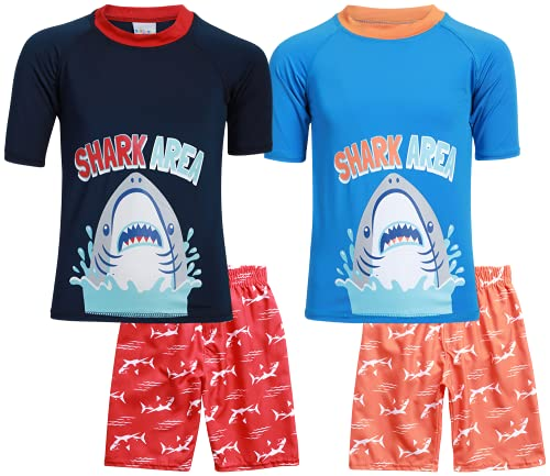 Sweet & Soft Boys UPF 50+ Boys Short Sleeve 4 Piece Rash Guard & Trunk Swimsuit Set (Infant/Toddler/Little Kid), Size 24 Months, Shark Area