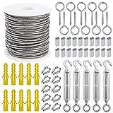 Kit de Cuerda de Acero Inoxidable Cable de 2mm Juego de Suspensión de Luces para Exteriores 30m con Tensor Dedales Manga de aluminio Tornillo de Ojo 56 Piezas