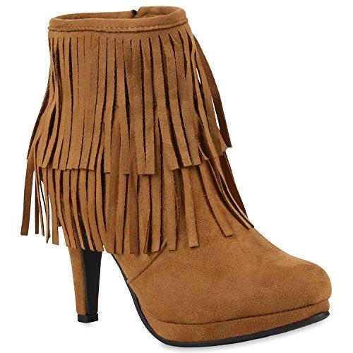 Damen Ankle Boots Fransen Stiefeletten Zipper Schuhe 110680 Hellbraun 36 Flandell