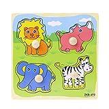 SimpleLife 4 Forma Bebé Niños Inteligencia Desarrollo Ladrillo De Madera Animal Cognize Puzzle de Madera Juguete