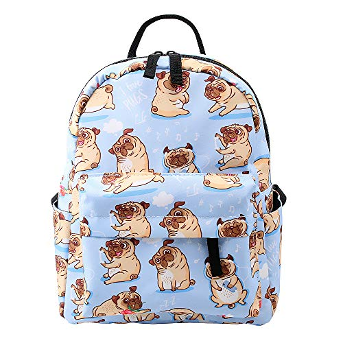 Loomiloo Hemp Mini Backpack Small Backpack for Women Kids Backpack for Young Girls (pug)