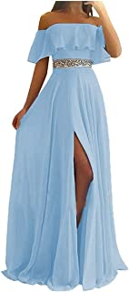 Split Bridesmaid Dresses Off Shoulder Long Chiffon Beaded Beach Wedding Evening Gown Women