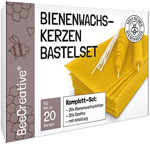 BeeCreative Bienenwachs-Kerzen Bastelset für 20 Kerzen, 100% reines Bienenwachs, Bienenwachskerzen selber Machen