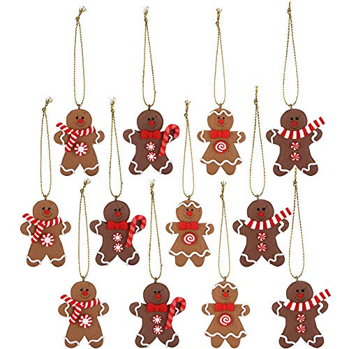 Sea Team Assorted Clay Figurine Ornaments Traditional Gingerbread Man Doll Gingerman Hanging Charms Christmas Tree Ornament Holiday Decorations, 1.97 Inches, Set of 12