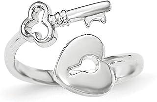 Lex & Lu Sterling Silver Heart Lock & Key Toe Ring LAL5561