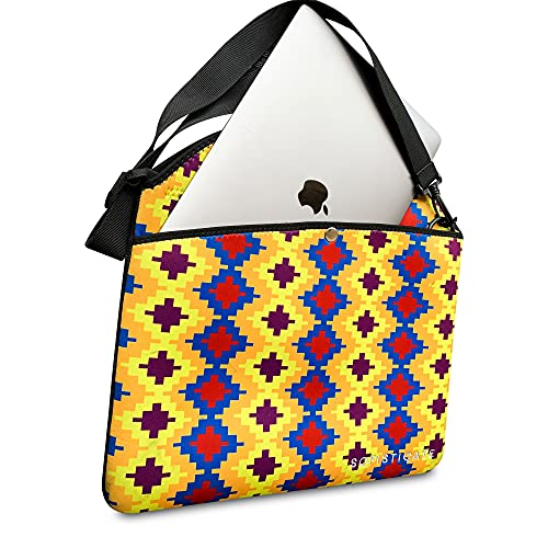 SOFISTICATE unique Kente pattern laptop bag with shoulder strap; 15-inch bag ideal for students, teachers, sturdy, roomy, waterproof, washable, soft Neoprene material; makes a statement