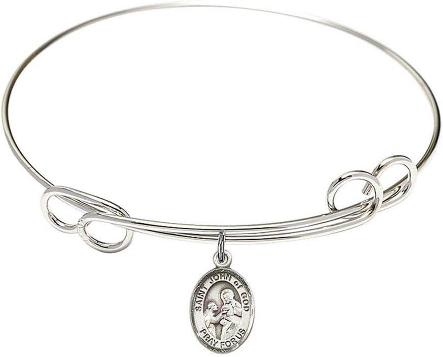 RIF Store Rhodium Plate Bangle Bracelet John God Saint with Beauty products Super sale period limited of C