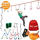 Hokilands 50 Foot Slackline Ninja Warrior Training Equipment for Kids Teens , Adjustable Hanging Obstacles Course Kit Including Climbing Rope Ladder & Carry Bag, Backyard Playground Swing Monkey Bars