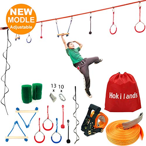 Hokilands 50 Foot Slackline Ninja Warrior Training Equipment for Kids Teens , Adjustable Hanging Obstacles Course Kit Including Climbing Rope Ladder & Carry Bag, Backyard Playground Swing Monkey Bars