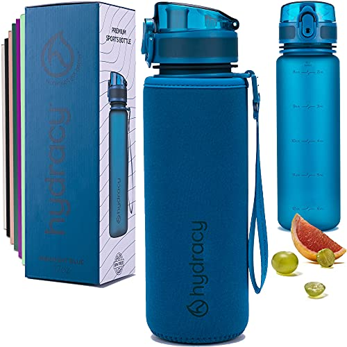 Hydracy Water Bottle with Time Marker - 500 ml 17 Oz BPA Free Water Bottle - Leak Proof & No Sweat Gym Bottle with Fruit Infuser Strainer for Fitness or Sport & Outdoors - Midnight Blue