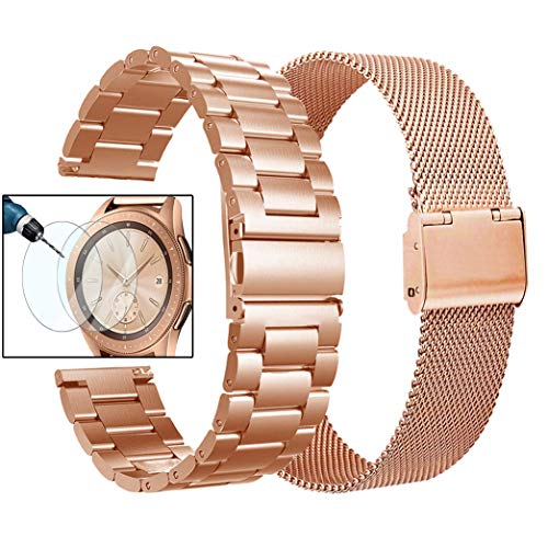 Valkit Compatible Galaxy Watch 42mm Band Rose Gold Women, 2 Pack 20mm Stainless Steel Solid Wrist Bands Business Bracelet Metal Strap Replacement for Samsung Galaxy Watch 42mm/Galaxy Watch Active 40mm