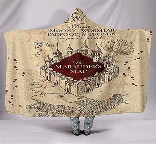 Manta con capucha, manta de impresión digital de Harry Potter, doble capa de terciopelo ártico, capa gruesa, cálida y no se decolora 17
