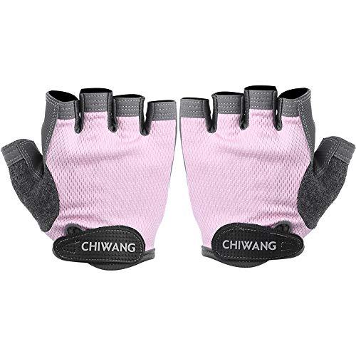 PINSHangFENg Guantes de fitness sin dedos Guantes de ciclismo para hombre y mujer Equipo de entrenamiento Yoga Spinning Bike No-Protector Rosa L
