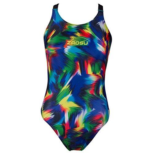 ZAOSU Schwimmanzug Badeanzug Z-Rainbow für Mädchen und Damen, Größe:104