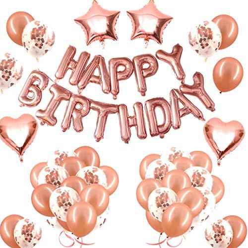 Victarvos Decorazioni per Festa di Compleanno, Palloncini Oro Rosa per Compleanno e Lettere di Happy Birthday, Pacco assortimento per Feste con Coriandoli Palloncini, Foil Palloncini, 77 Pezzi