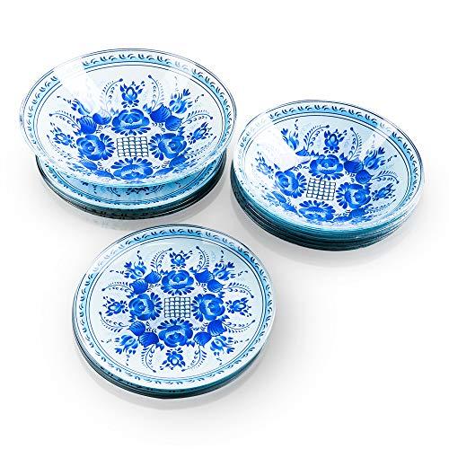 Vajilla de cristal para 6 personas, 19 piezas, color blanco con flores azules, 6 platos hondos, 6 platos de postre, 1 ensaladera