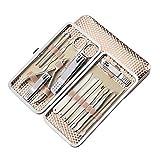 SHCOE 16pc Manicure Set Nail Kit de uñas Herramientas de Arte de uñas para Conjuntos de manicura Cuidado de pedicuras con Pusher Ingrown Nail File Polish Kits