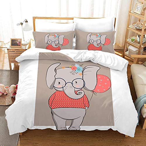 BFSOC 3 Pieces Duvet Cover -Cartoon Elephant -3D Printed Bedding Quilt Duvet Cover With Zipper Closure for Adults, Ultra Soft Hypoallergenic Microfiber 94.5 X 86.7 inch