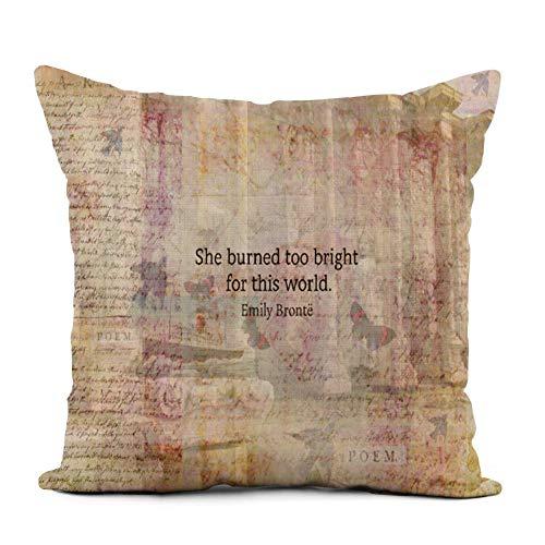 Topyee Capa de almofada 50 x 50 cm inspiradora Wuthering Heights, por Emily, citação, dizeres Wethering, capas de almofada quadradas para sofá e cama