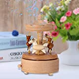 Wooden Vintage Carousel Music Box Beautiful Handmade Wood Musical Boxes Toy Crafts Birthday Home Decor