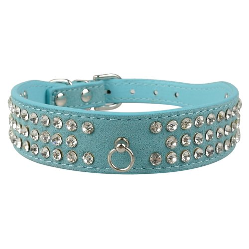 Collar De Perro Personalizado Collar Accesorios Para Mascotascollares De Perro De Cuero De Gamuza De 3 Hileras Collares De Diamantes De Cristal Collar De Cachorro De Gato 6 Colores 4 Tamaños, Azul, S
