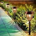 Solar Pathway Lights- LED Solar Pathway Lights Outdoor 4 Pack, Landscape Lights Outdoor, IP65 Waterproof 8-10 Hours Long Last 10-40 Lumens Adjustable Warm White Pathway Lights for Garden, Path, Yard