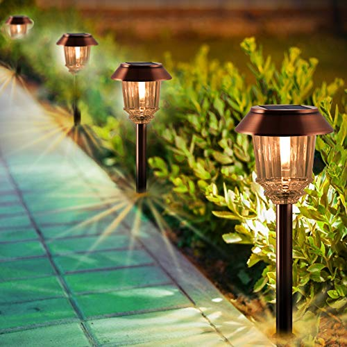 Solar Lights Pathway - Solar Pathway Lights 4 Pack, LED Landscape Lights Outdoor Solar, IP65 Waterproof 8-10 Hours Long Last 10-40 Lumens Dimmable Warm White Solar Path Lights for Garden, Path, Yard