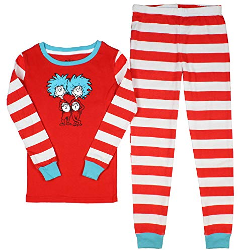 Dr. Seuss Big Boys' Cat In The Hat Thing 1 Thing 2 Tight Fit Pajamas (6) Red