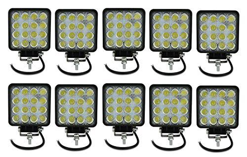 10 X FARO FARETTO LUCE LED QUADRATO 16 LED AUTO BARCA CAMION JEEP 12V 48W LED 6500K