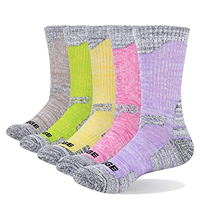 YUEDGE Women's Performance Cotton Cushion Crew Socks 5 Pairs/Pack Sports Work Boot Athletic Walking Hiking Socks(X-Large)