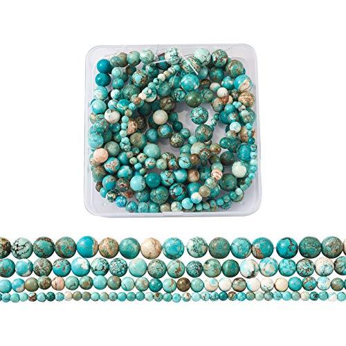 PandaHall Cuentas de turquesa natural de 5 hilos de 4 mm/6 mm/8 mm/10 mm redondas de color turquesa con espaciador para pulsera y collar