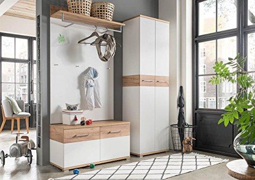 lifestyle4living Garderoben-Set, Garderobe, Flurgarderobe, Diele, Schuhschrank, Garderobenschrank, Paneel, Hutablage, Schrank, Spiegel, weiß, Navarra, Eiche, 3-TLG.